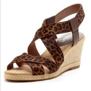 Lucky Brand Leopard Strap Espadrille Wedge Sandals
